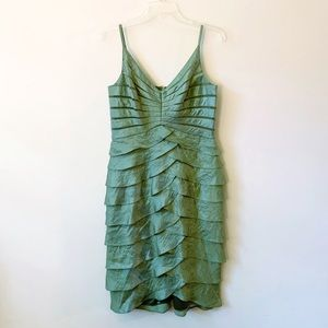 Victor Costa Green Ruffle Vintage Cocktail Dress